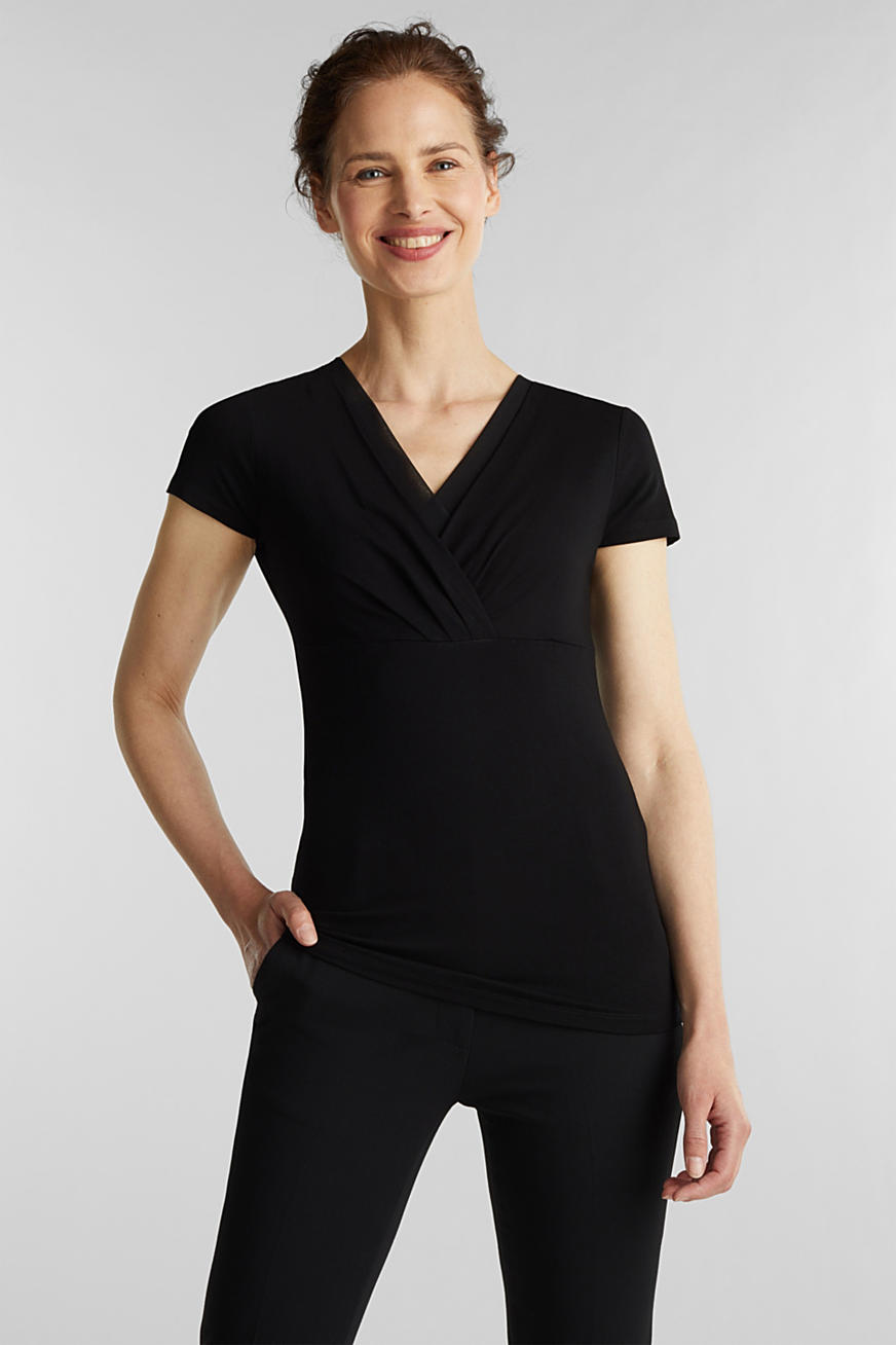 Stretch-Shirt mit Layer-Wickeleffekt