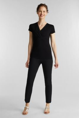 Stretch T-shirt with layered wrap-over effect, BLACK, detail