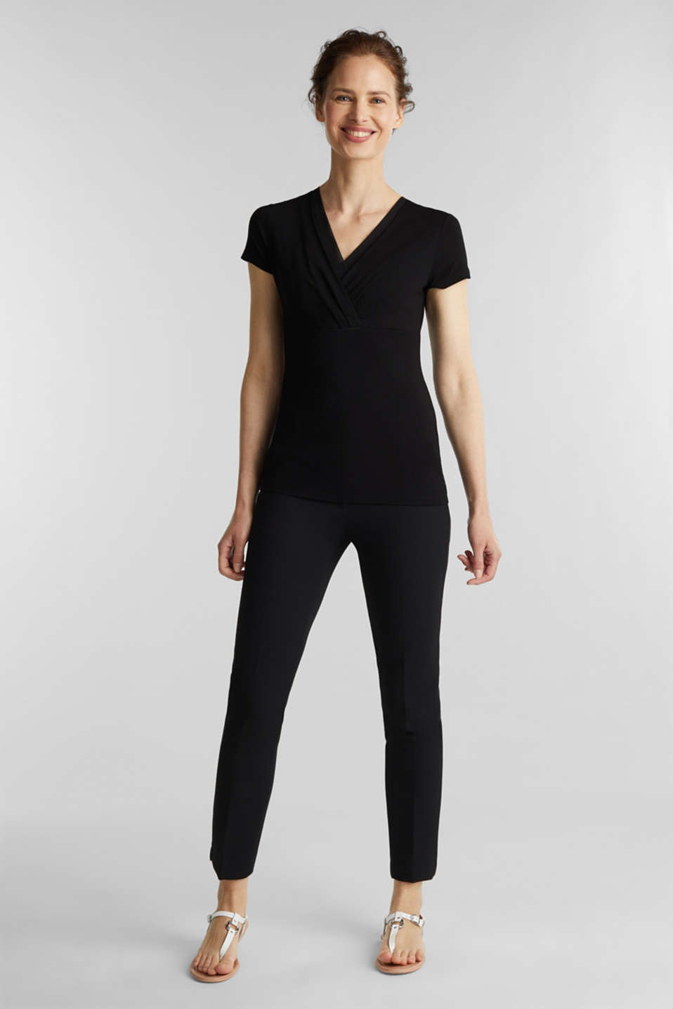 Stretch T-shirt with layered wrap-over effect, BLACK, detail image number 1
