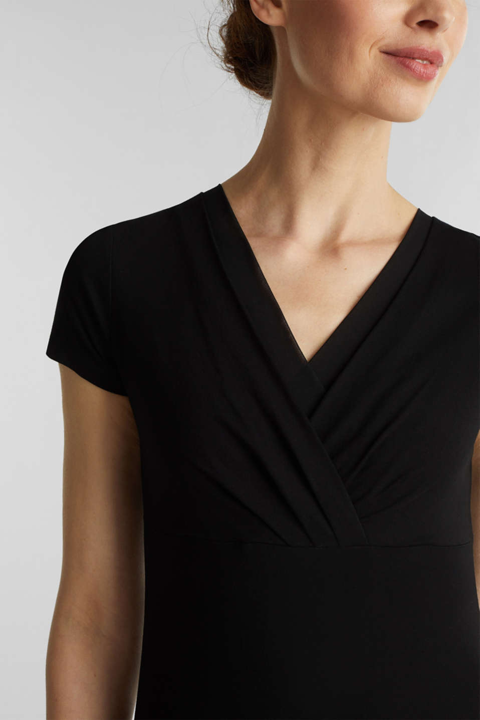 Stretch T-shirt with layered wrap-over effect, BLACK, detail image number 2
