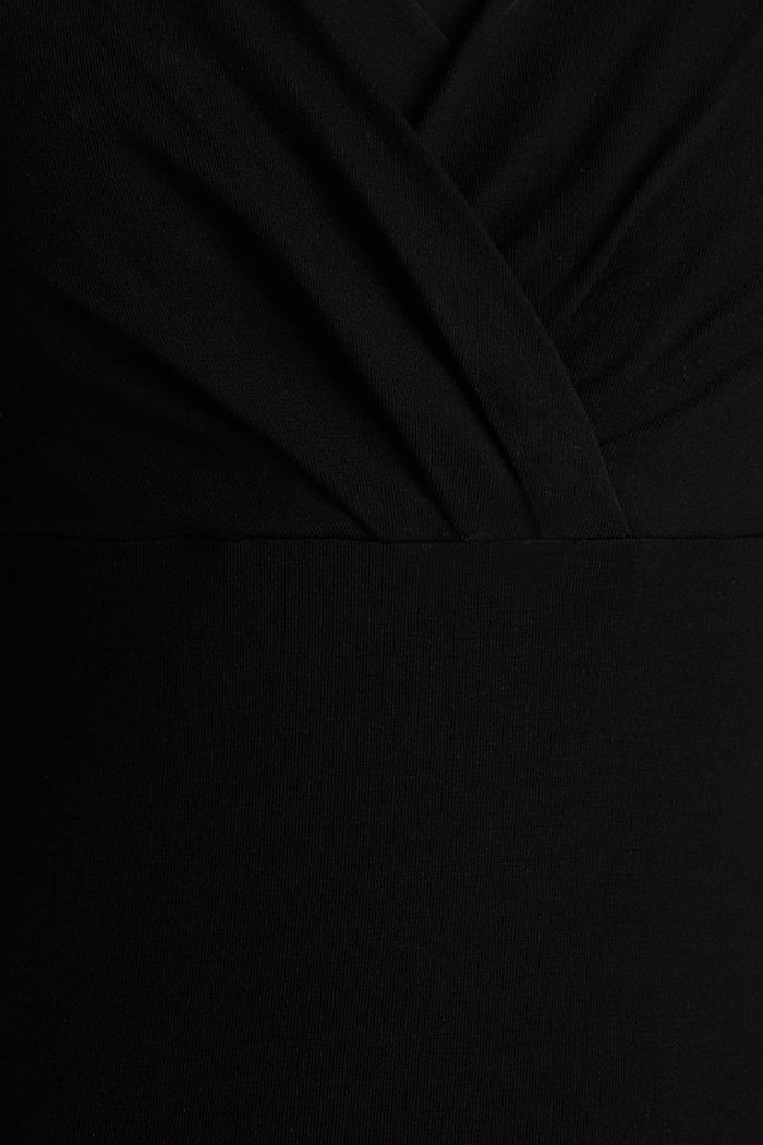 Stretch-Shirt mit Layer-Wickeleffekt, BLACK, detail image number 4