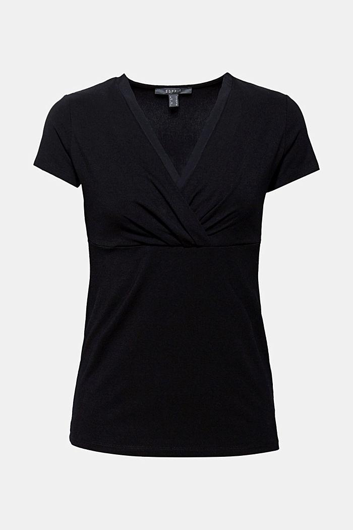 Stretch-Shirt mit Layer-Wickeleffekt, BLACK, detail image number 6