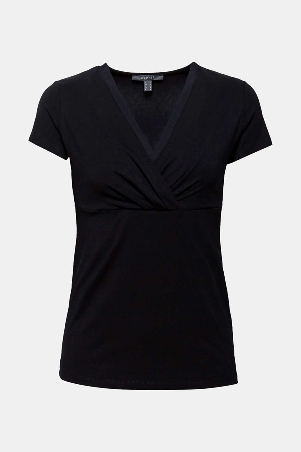 Stretch T-shirt with layered wrap-over effect, BLACK, detail image number 6
