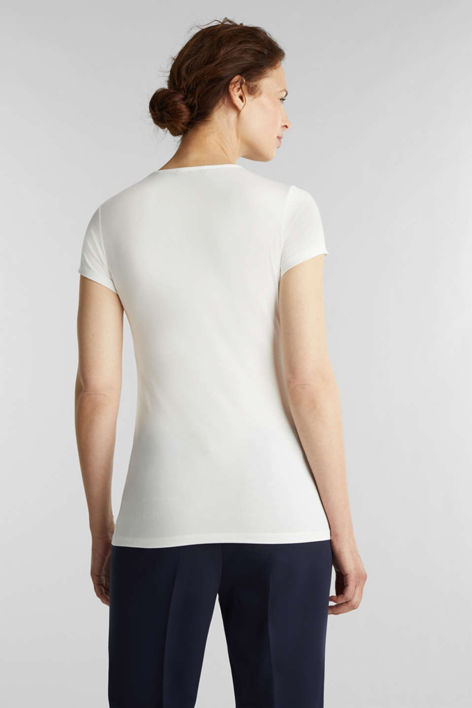 Stretch T-shirt with layered wrap-over effect, OFF WHITE, detail image number 3