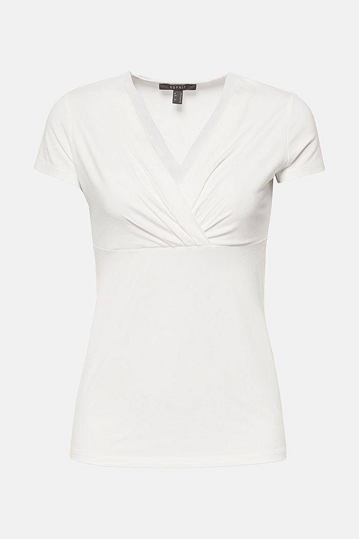 Stretch T-shirt with layered wrap-over effect, OFF WHITE, detail image number 5