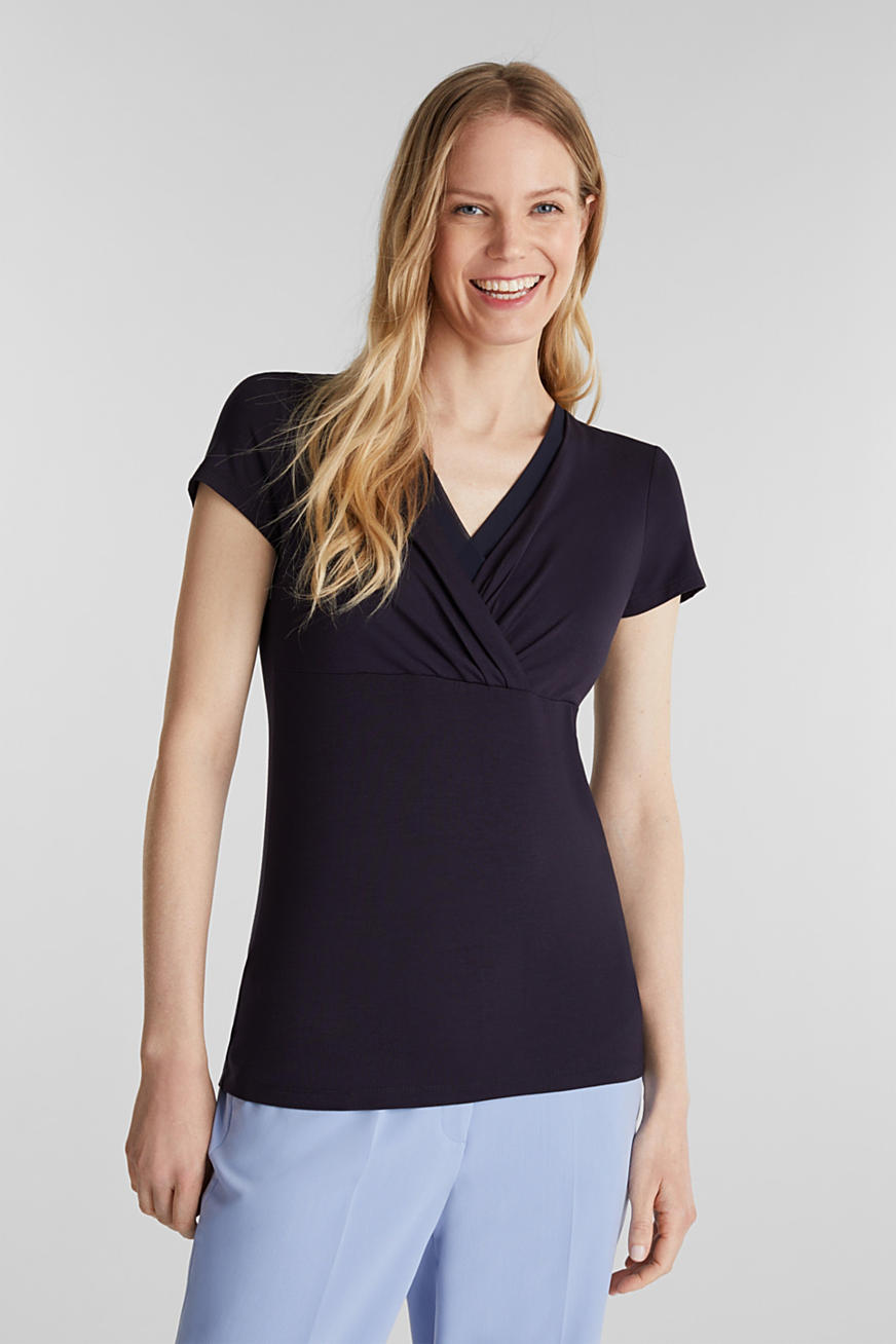 Stretch T-shirt with layered wrap-over effect