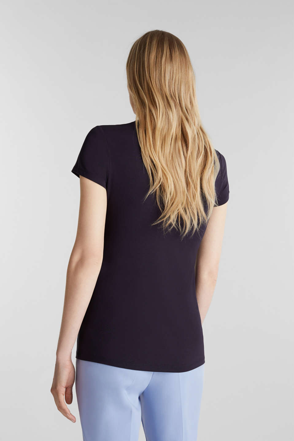 Stretch T-shirt with layered wrap-over effect, NAVY, detail image number 3