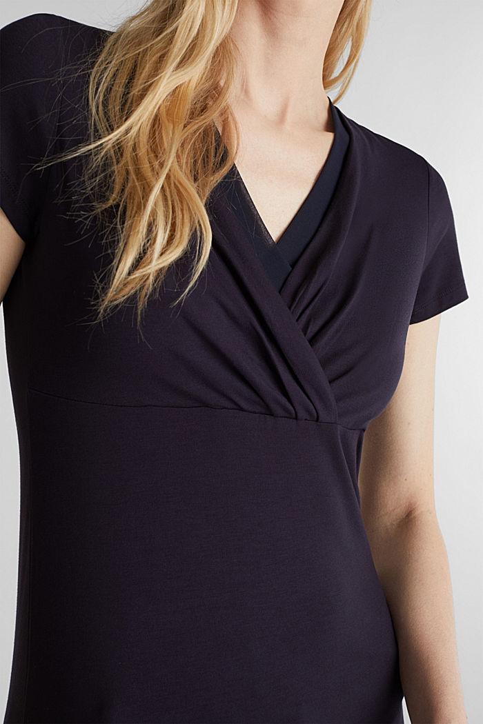 Stretch-Shirt mit Layer-Wickeleffekt, NAVY, detail image number 2