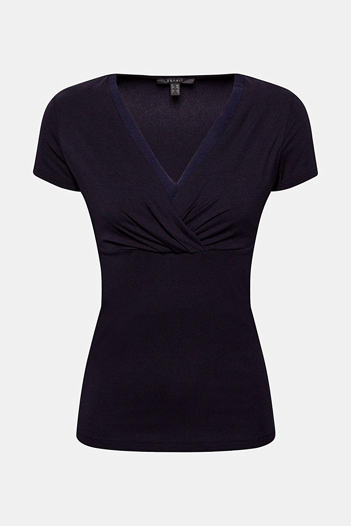 Stretch-Shirt mit Layer-Wickeleffekt, NAVY, detail image number 7