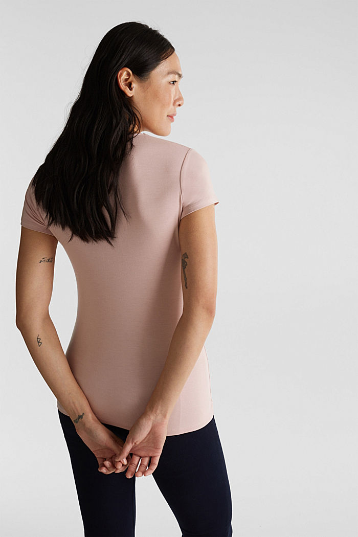 Stretch T-shirt with layered wrap-over effect, OLD PINK, detail image number 3