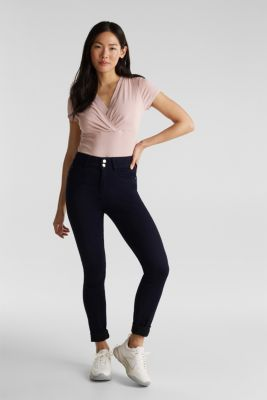 Stretch T-shirt with layered wrap-over effect, OLD PINK, detail