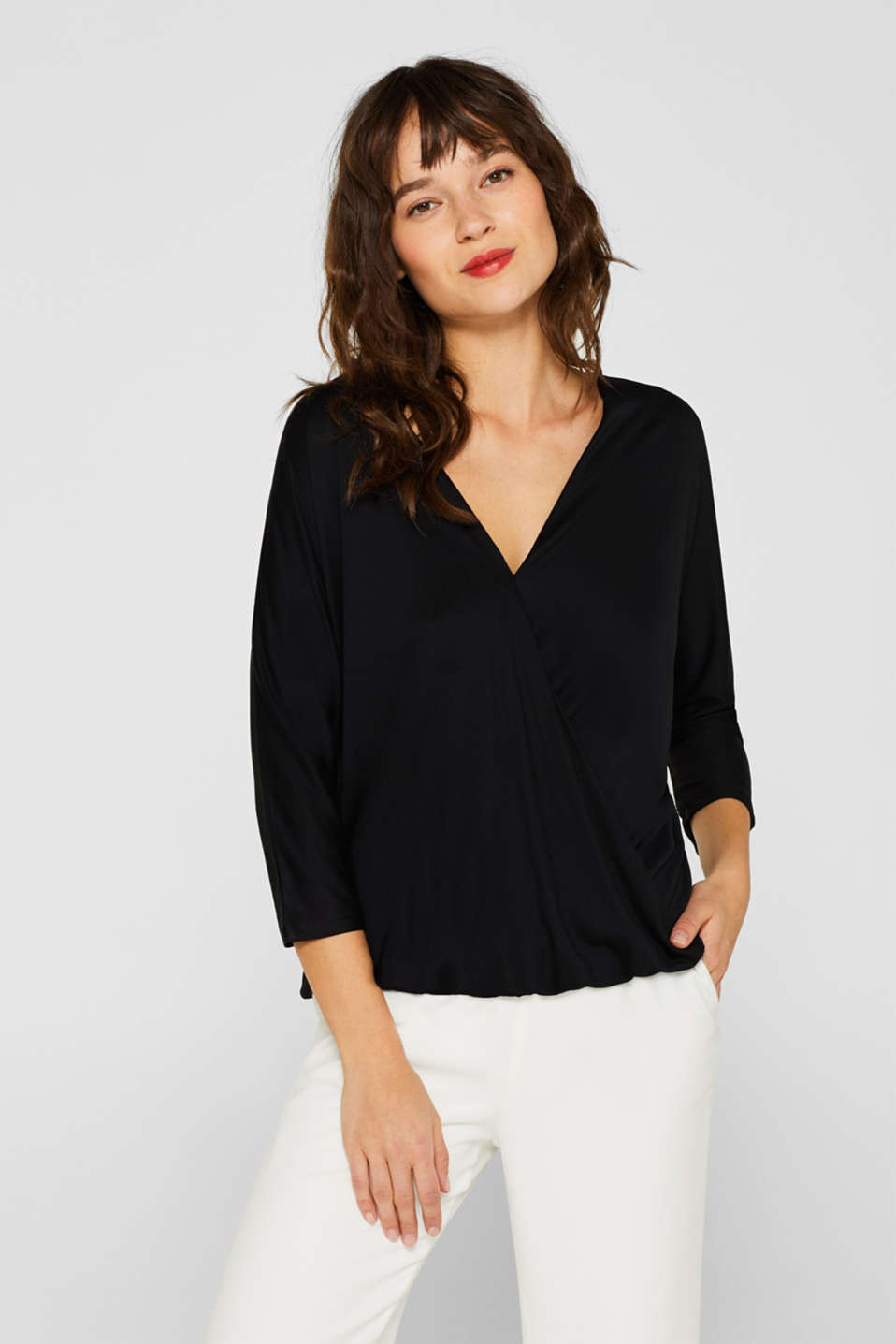 Wrap-over effect T-shirt with an elasticated hem, BLACK, detail image number 0
