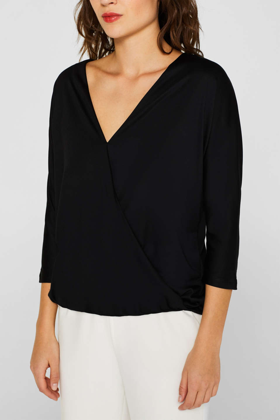 Wrap-over effect T-shirt with an elasticated hem, BLACK, detail image number 2