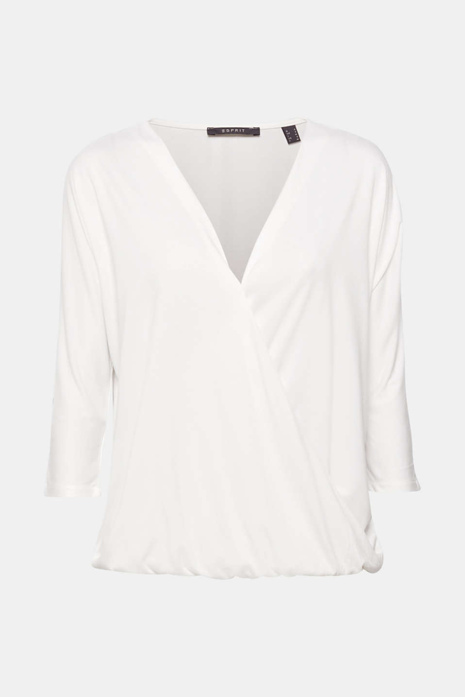 Wrap-over effect T-shirt with an elasticated hem, OFF WHITE, detail image number 0