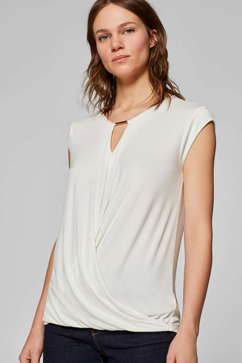 Wrap-over effect stretch tee with a decorative element, OFF WHITE, detail image number 5
