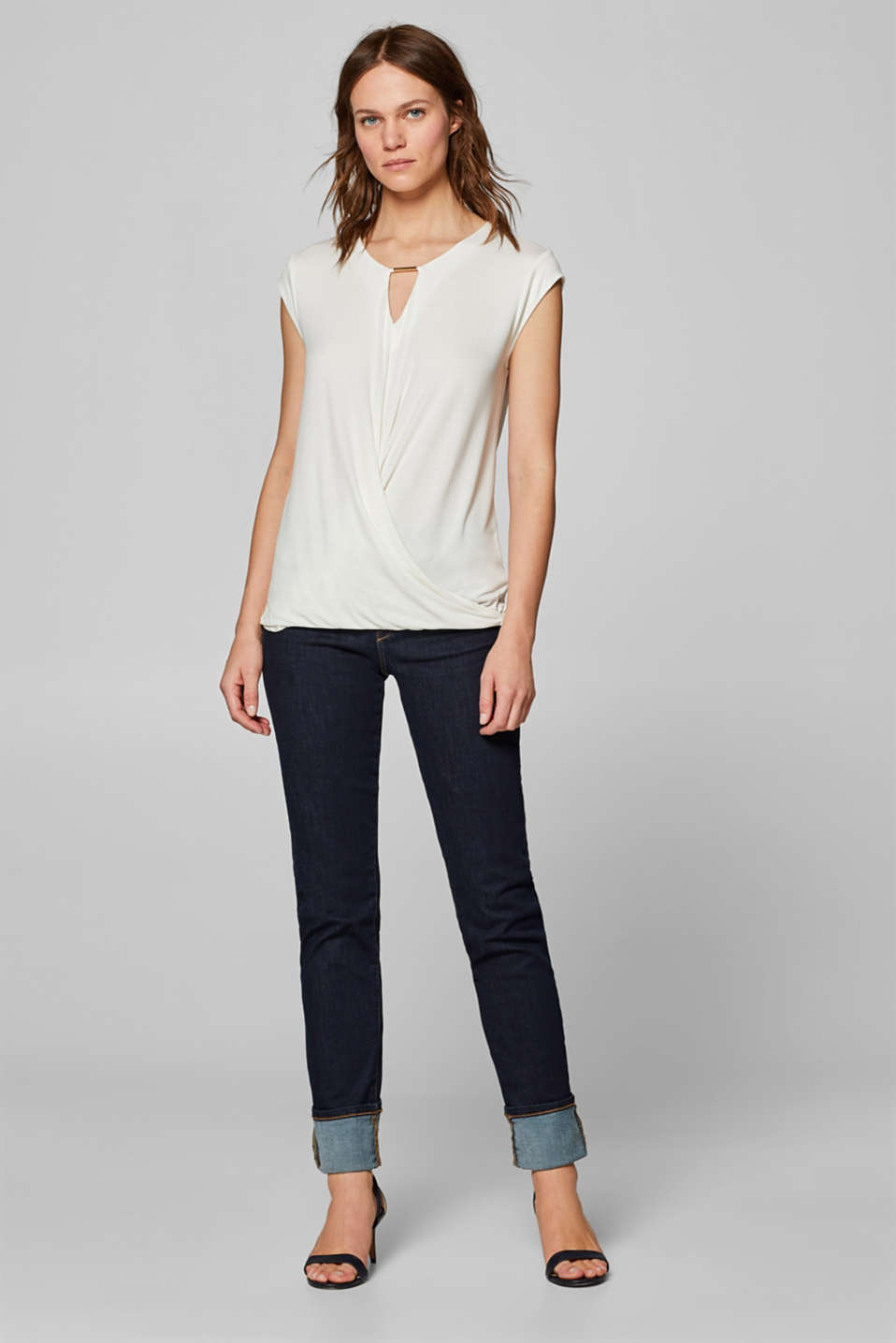 Wrap-over effect stretch tee with a decorative element, OFF WHITE, detail image number 1