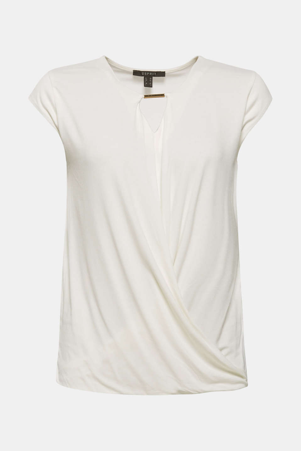 Esprit - Wrap-over effect stretch tee with a decorative element