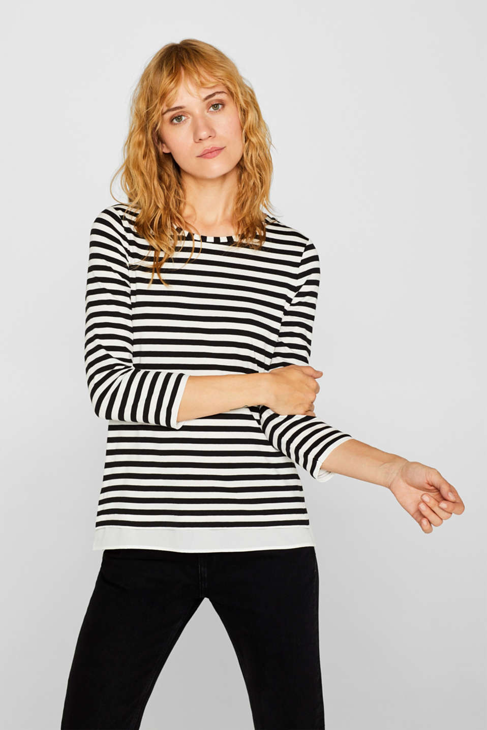 Striped, layered long sleeve top with a cloth hem, BLACK, detail image number 0