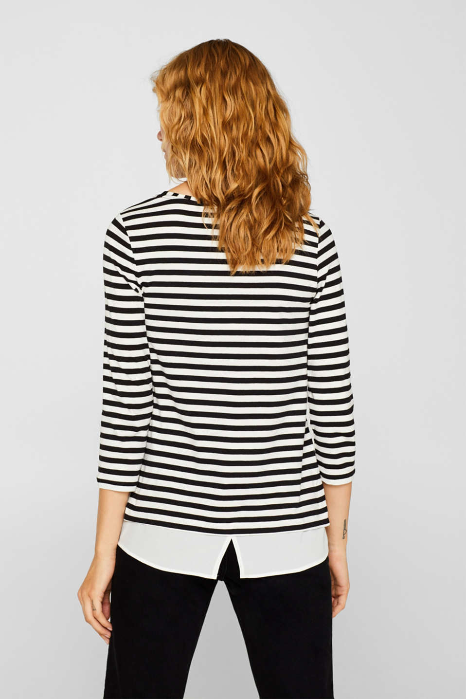 Striped, layered long sleeve top with a cloth hem, BLACK, detail image number 3
