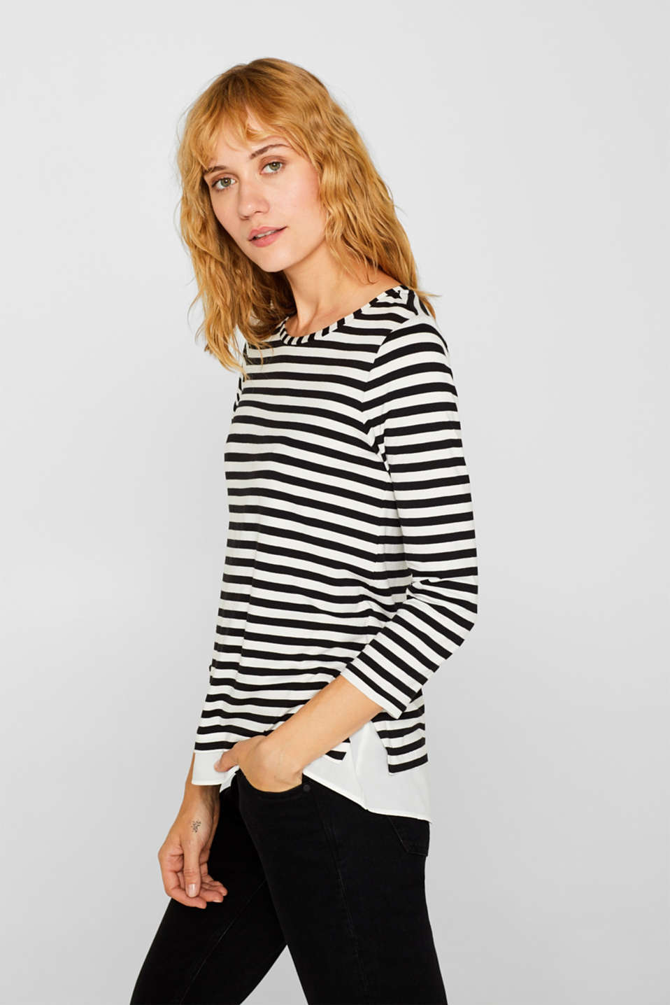 Striped, layered long sleeve top with a cloth hem, BLACK, detail image number 5