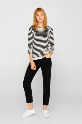 Striped, layered long sleeve top with a cloth hem, BLACK, detail