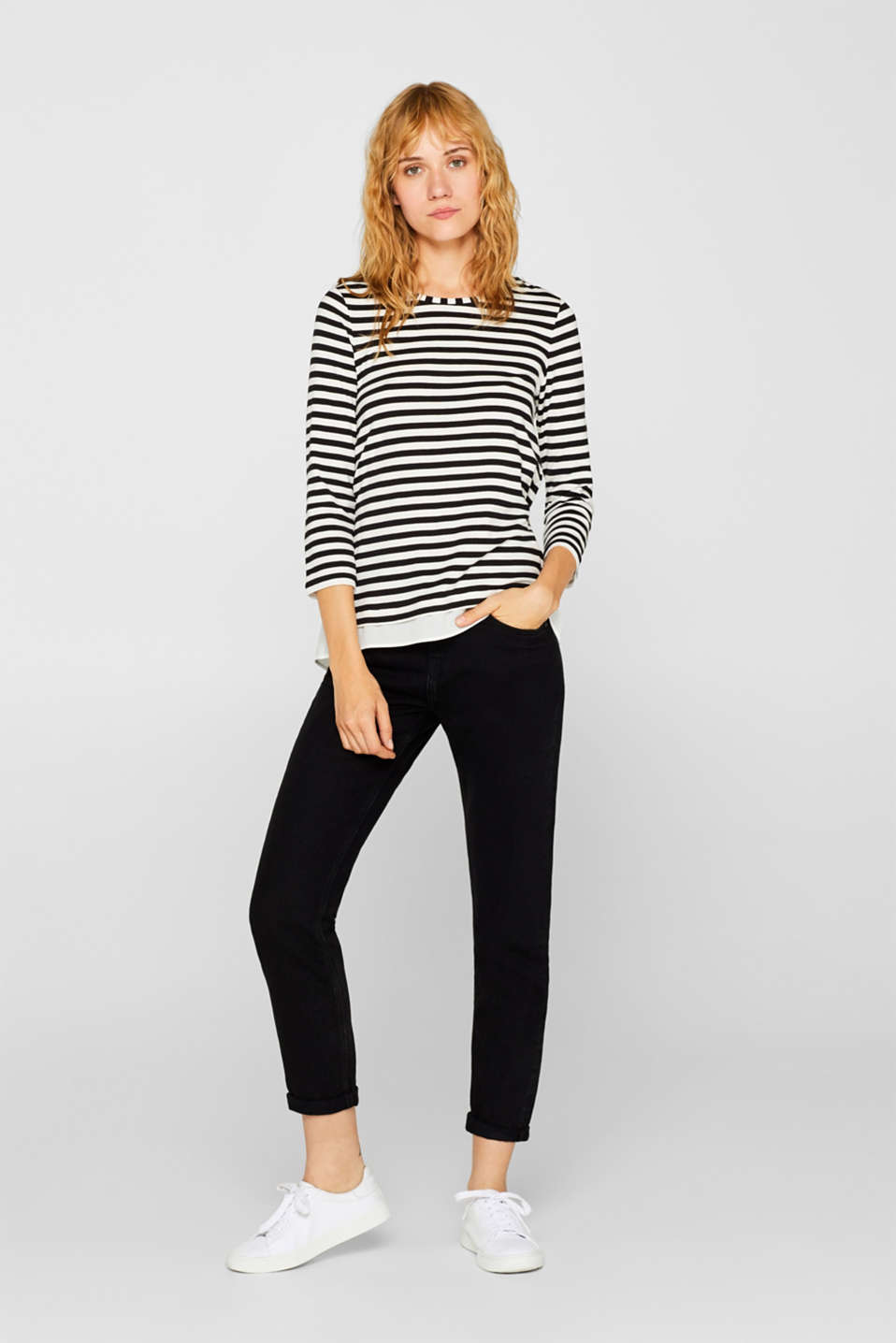 Striped, layered long sleeve top with a cloth hem, BLACK, detail image number 1