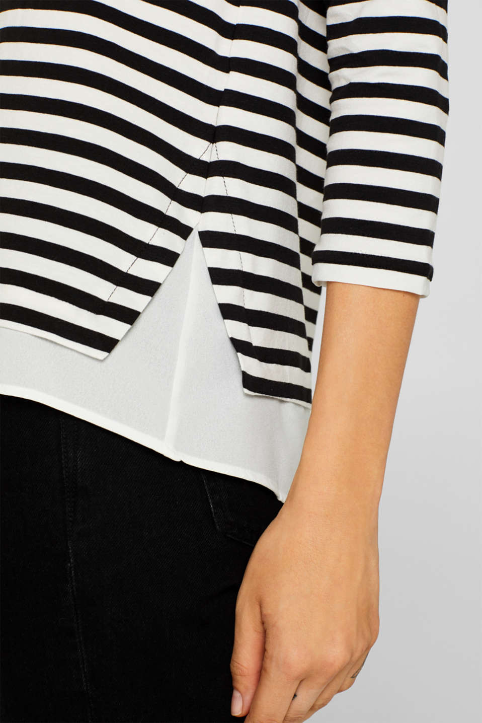 Striped, layered long sleeve top with a cloth hem, BLACK, detail image number 4