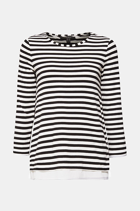 Striped, layered long sleeve top with a cloth hem