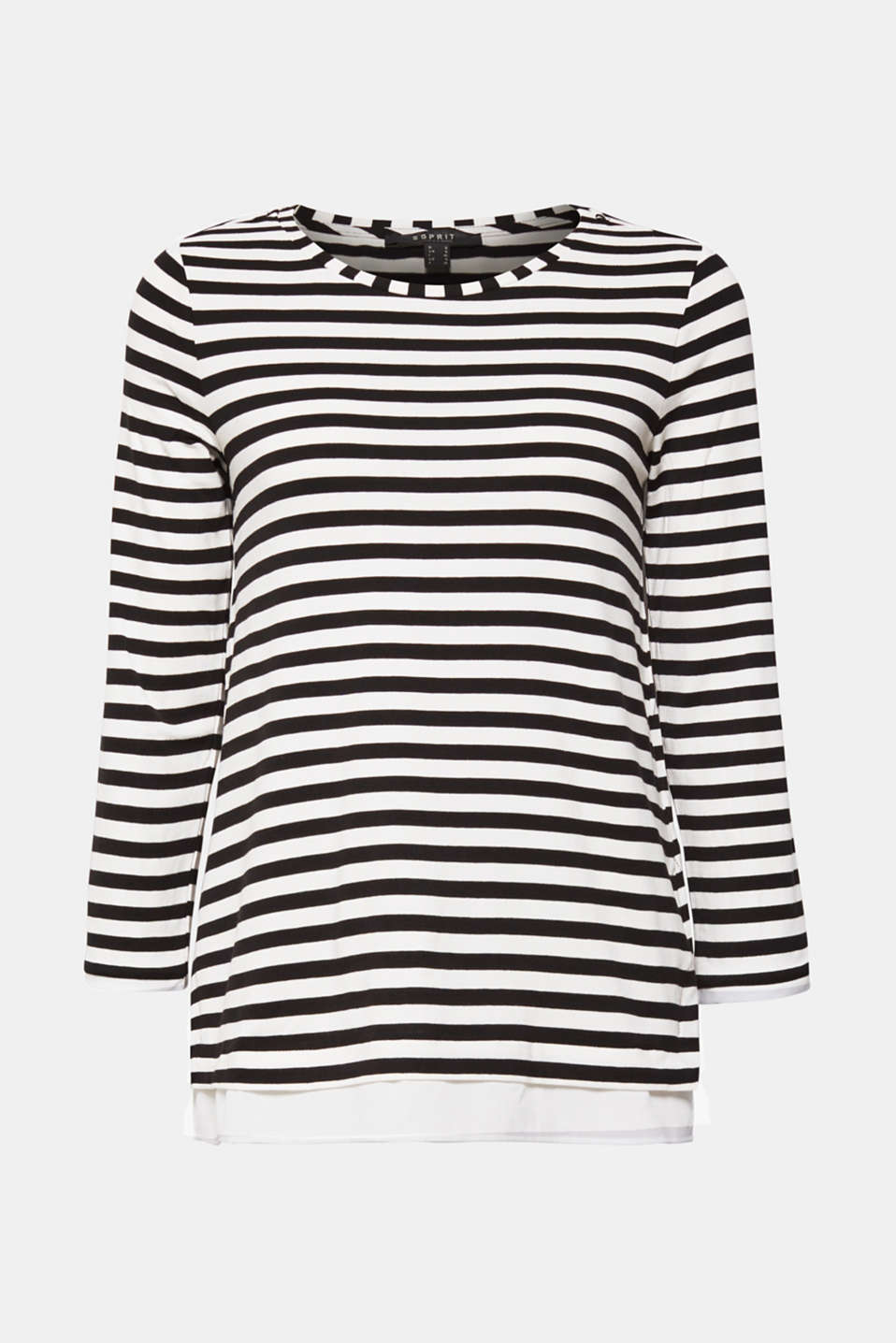 Striped, layered long sleeve top with a cloth hem, BLACK, detail image number 8