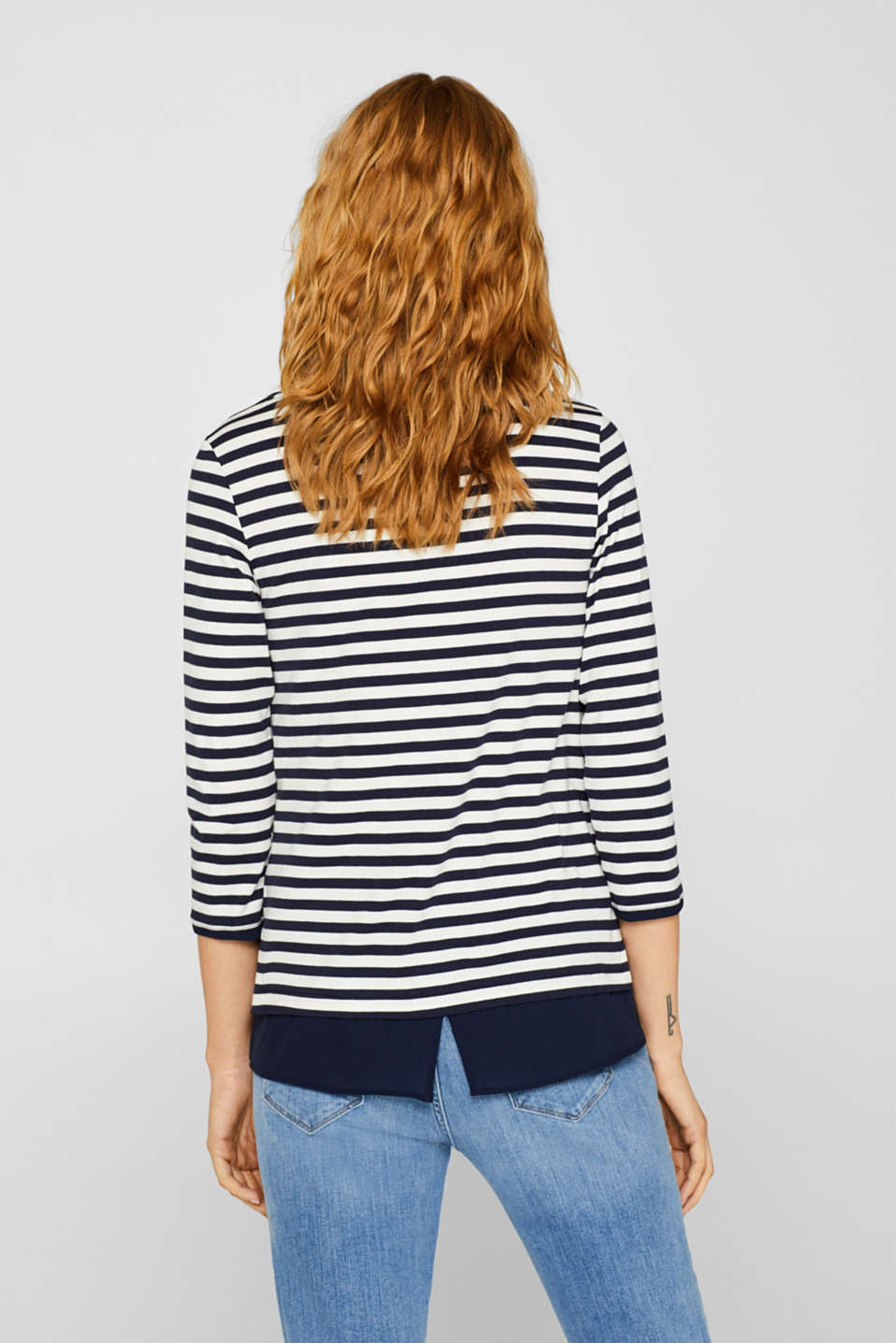 Stretch top with a cloth hem, NAVY, detail image number 3