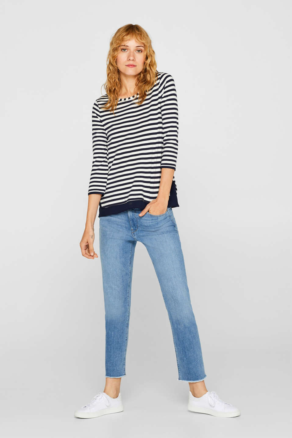 Stretch top with a cloth hem, NAVY, detail