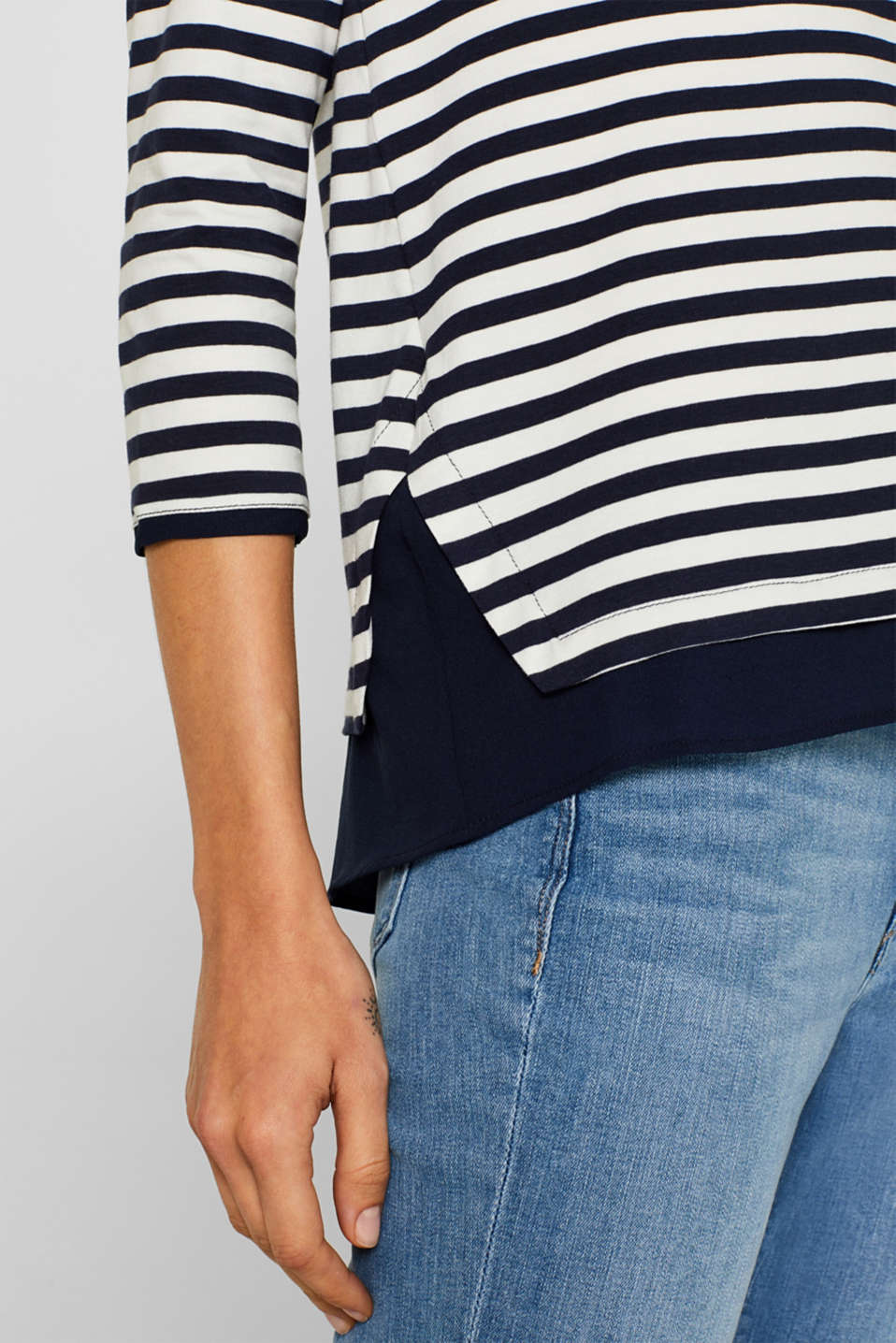 Stretch top with a cloth hem, NAVY, detail image number 2