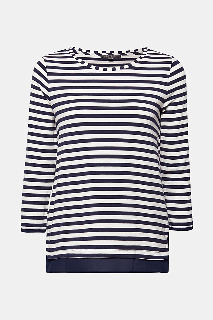 Stretch top with a cloth hem, NAVY, detail image number 0