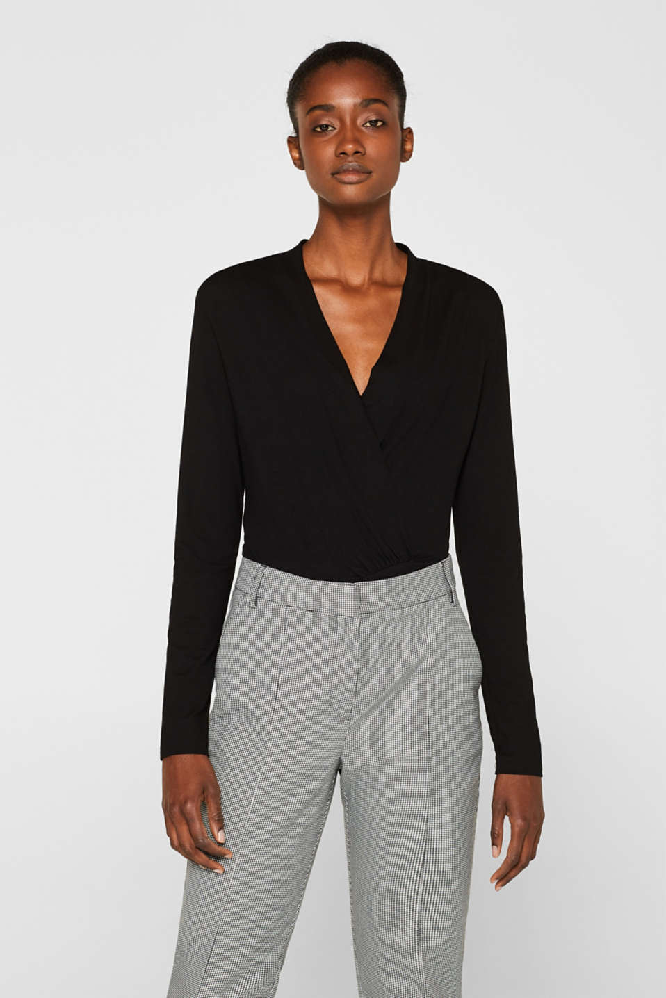 Stretch top in a wrap-over look, BLACK, detail image number 0