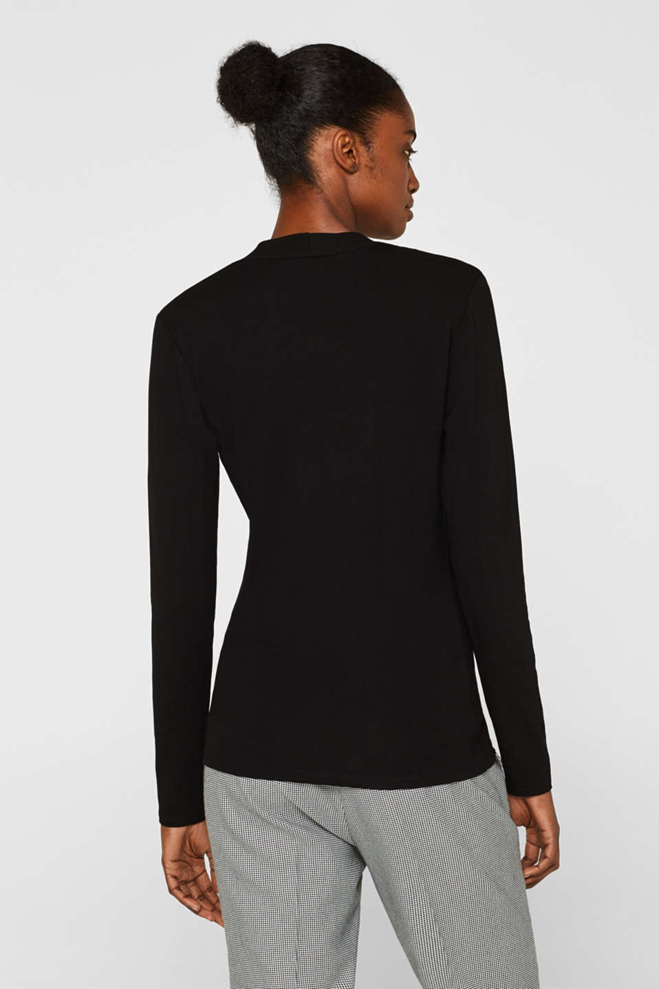 Stretch top in a wrap-over look, BLACK, detail image number 3