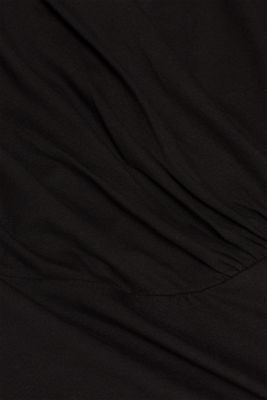 Stretch top in a wrap-over look, BLACK, detail