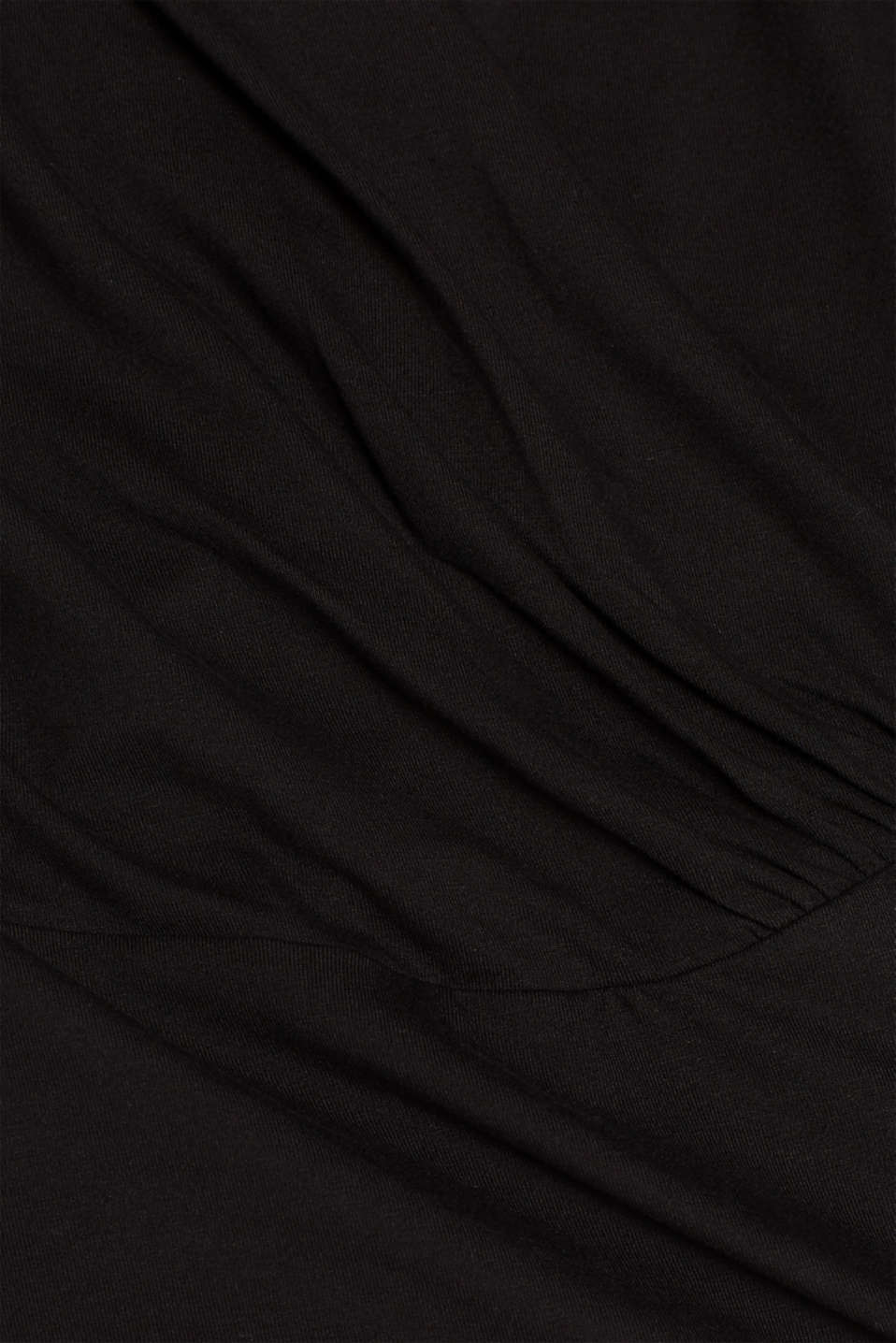 Stretch top in a wrap-over look, BLACK, detail image number 4