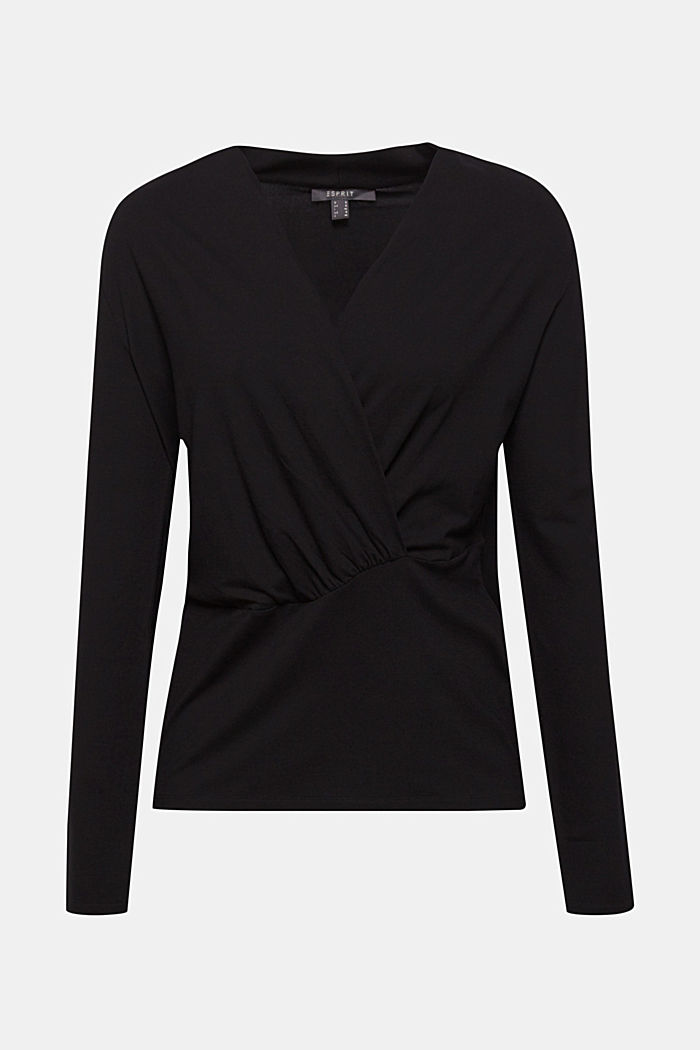 Shirt in wikkellook met stretch, BLACK, detail image number 0