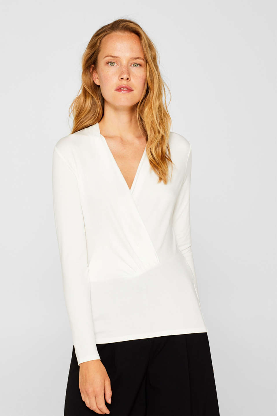 Esprit - Shirt in wikkellook met stretch