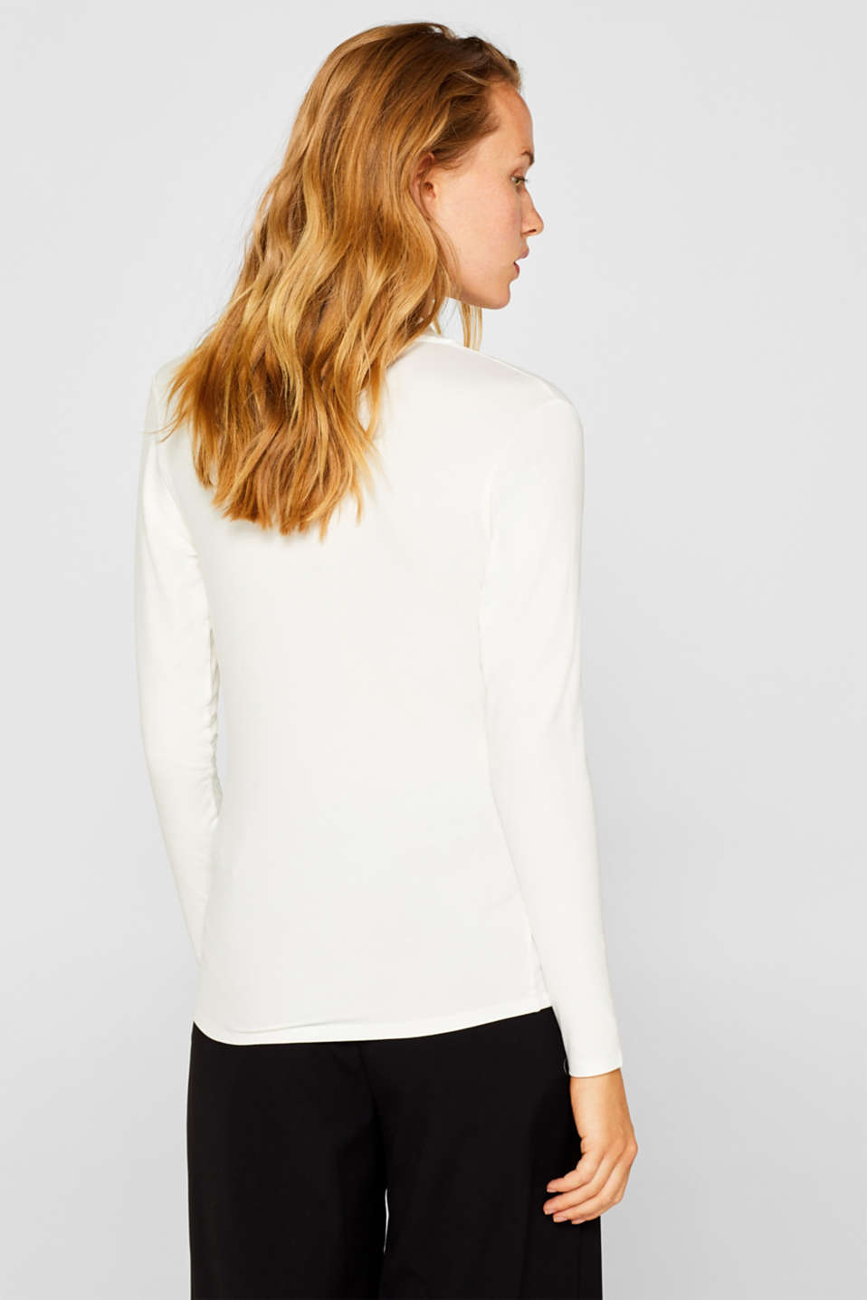 Stretch top in a wrap-over look, OFF WHITE, detail image number 3