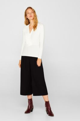 Stretch top in a wrap-over look, OFF WHITE, detail