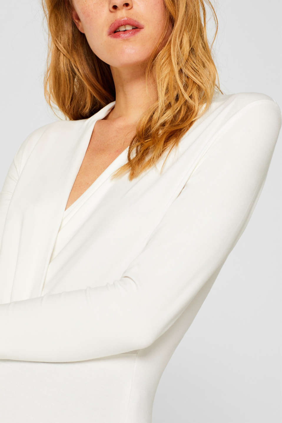 Stretch top in a wrap-over look, OFF WHITE, detail image number 2