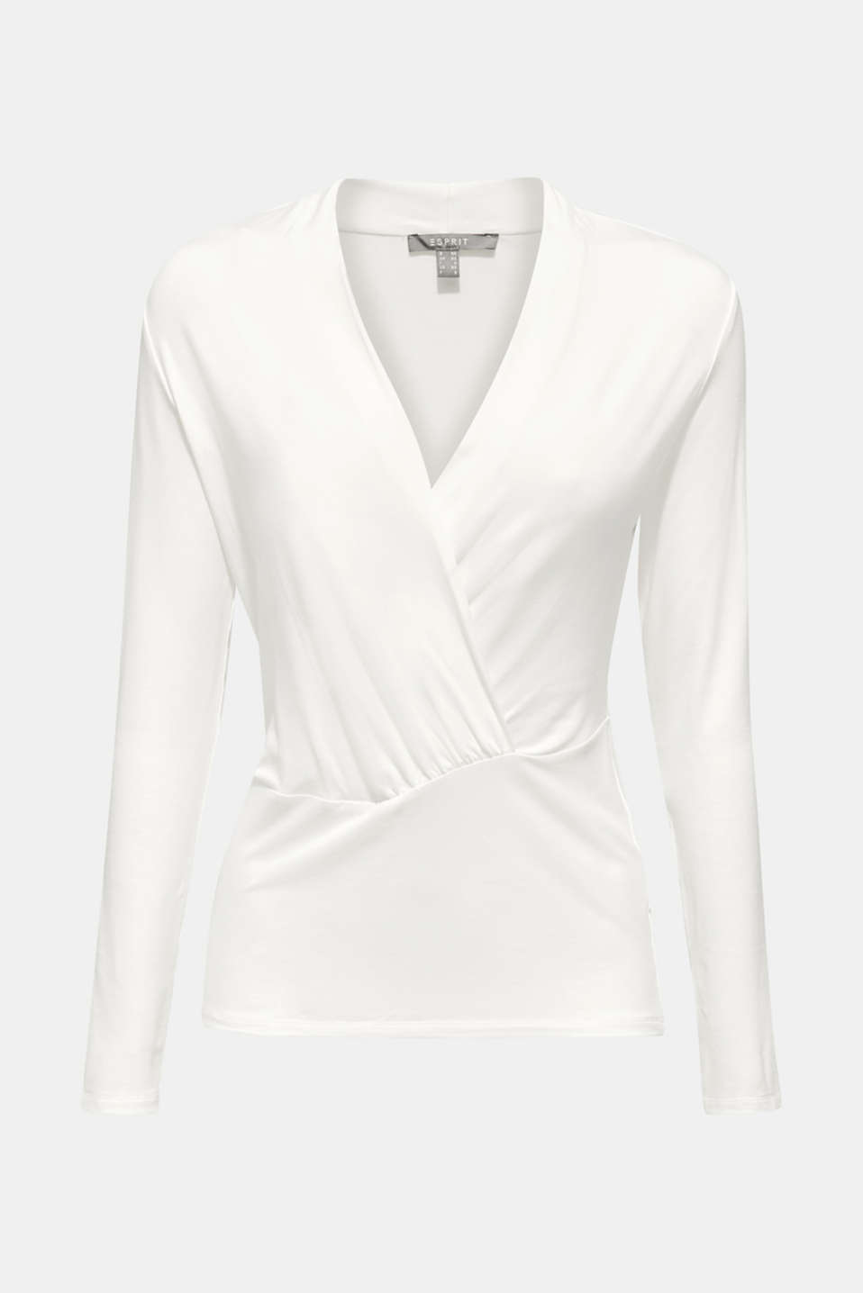 Stretch top in a wrap-over look, OFF WHITE, detail image number 5