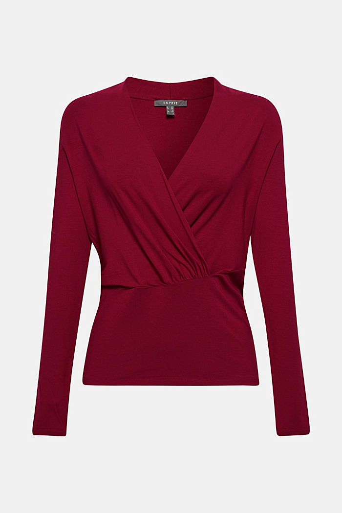 Stretch-Shirt im Wickel-Look, GARNET RED, detail image number 0
