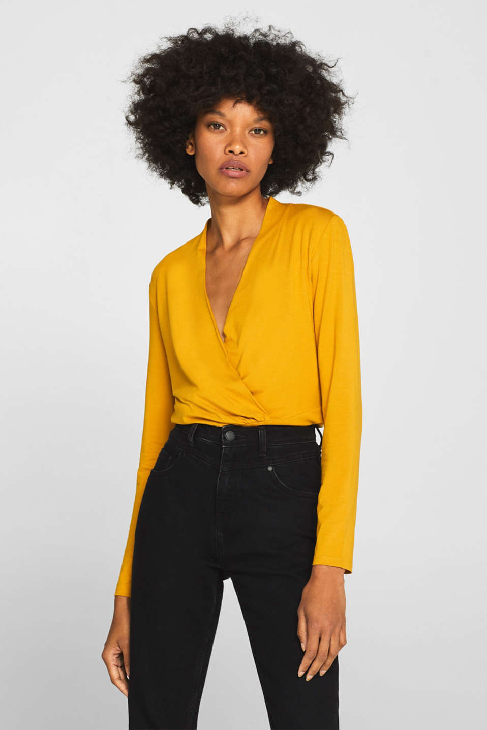 Stretch top in a wrap-over look, AMBER YELLOW, detail image number 0