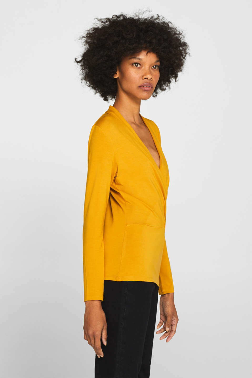 Stretch top in a wrap-over look, AMBER YELLOW, detail image number 6