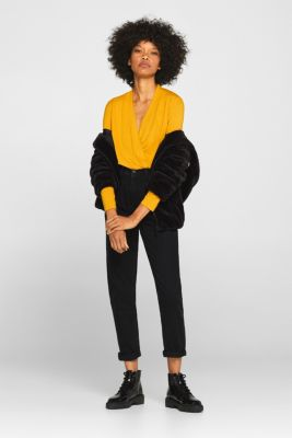 Stretch top in a wrap-over look, AMBER YELLOW, detail