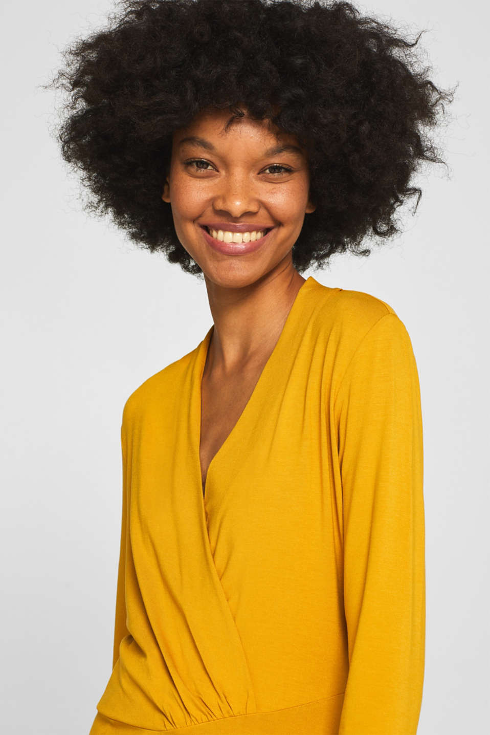 Stretch top in a wrap-over look, AMBER YELLOW, detail image number 2