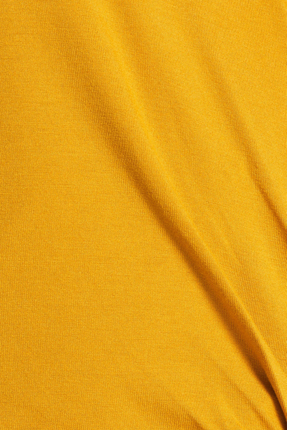 Stretch top in a wrap-over look, AMBER YELLOW, detail image number 4