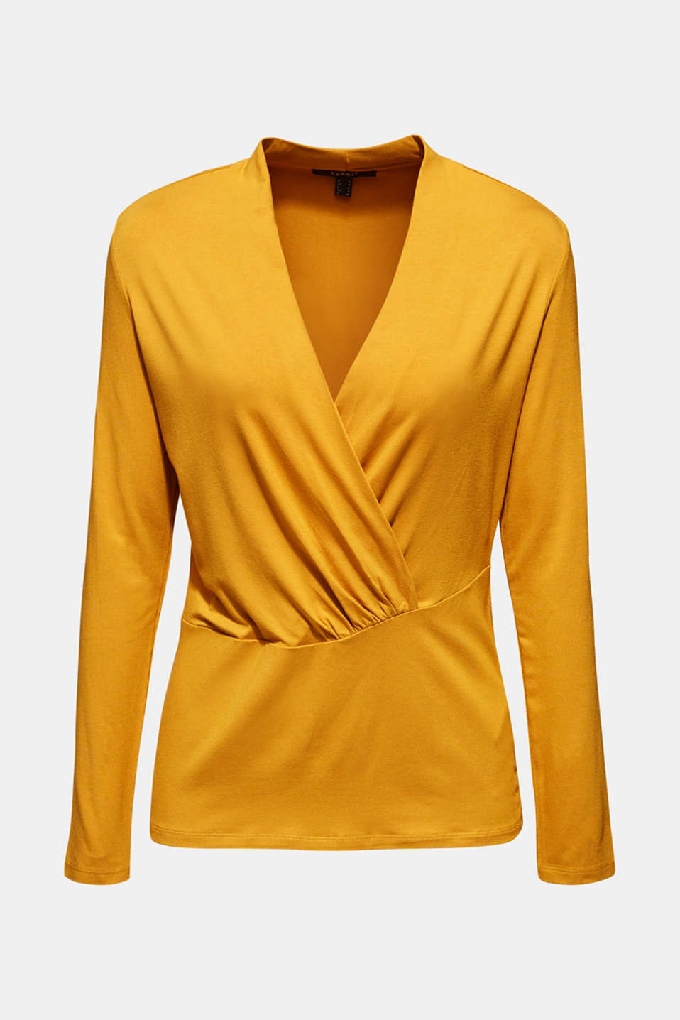 Stretch top in a wrap-over look, AMBER YELLOW, detail image number 7